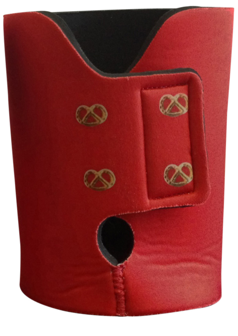 Dirndl Koozie Rear View Showing Velcro Closure and Pretzel Decoration