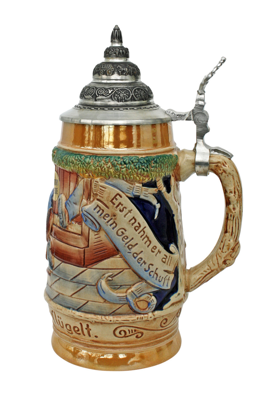Full-Color Ceramic German Beer Stein with Pewter Lid
