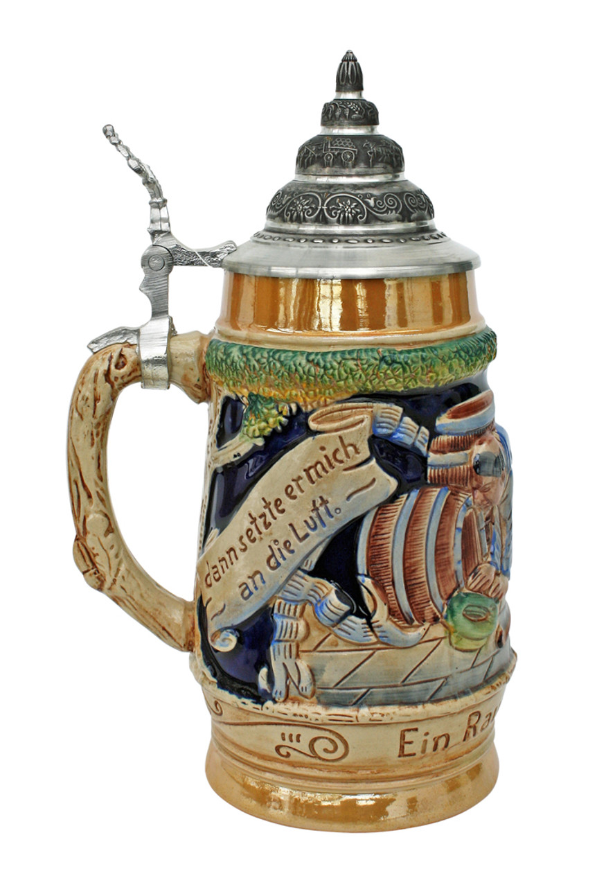 German Tavern Ceramic Beer Stein with Pewter Lid