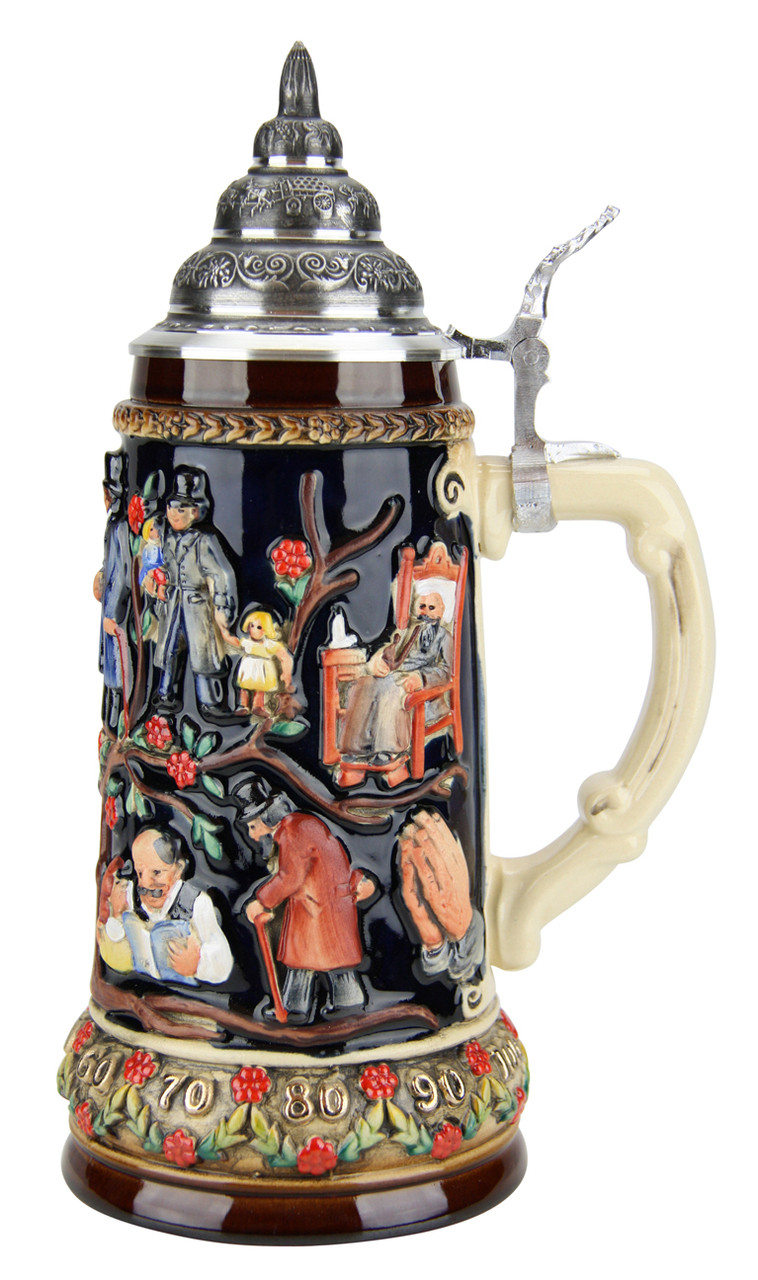 Traditional German Beer Stein with Lid