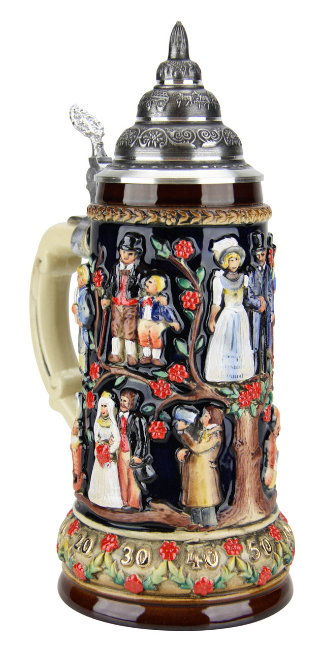 German Beer Stein with Lid Wedding Gift