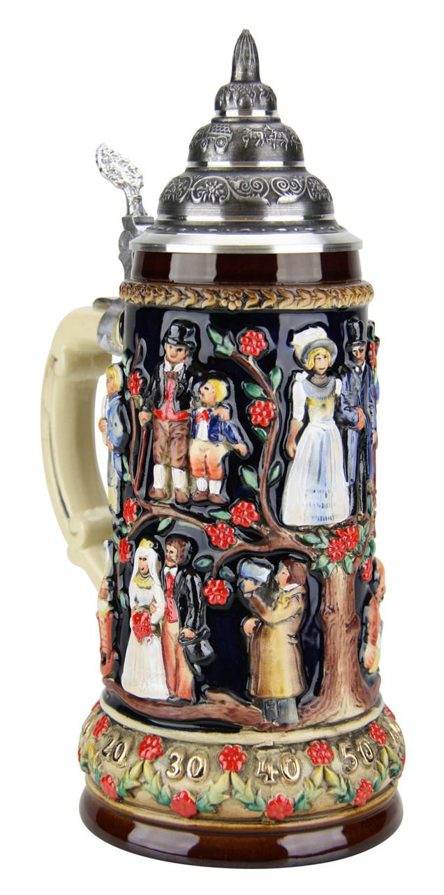 German Beer Stein with Lid Wedding Gift