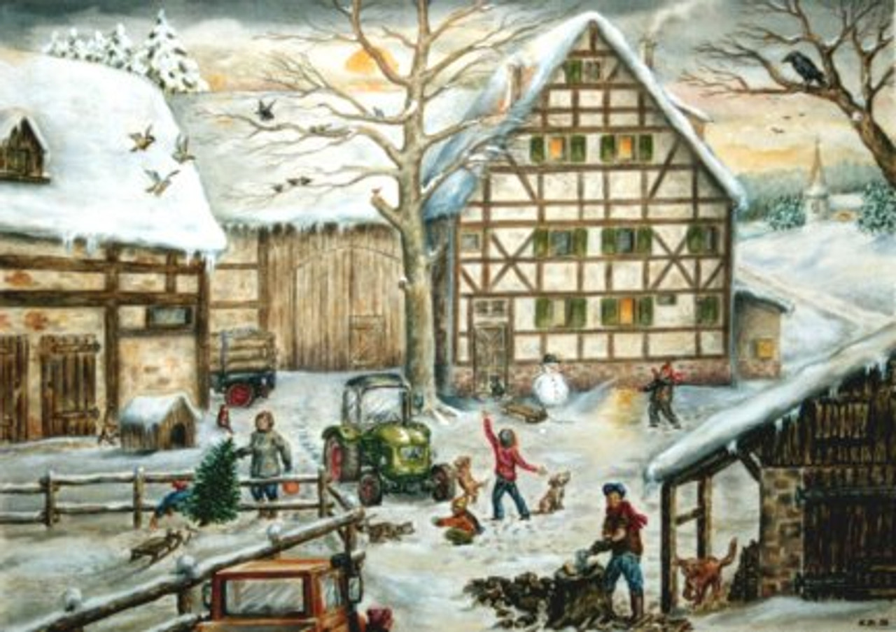 Winter Farm Scene German Advent Calendar