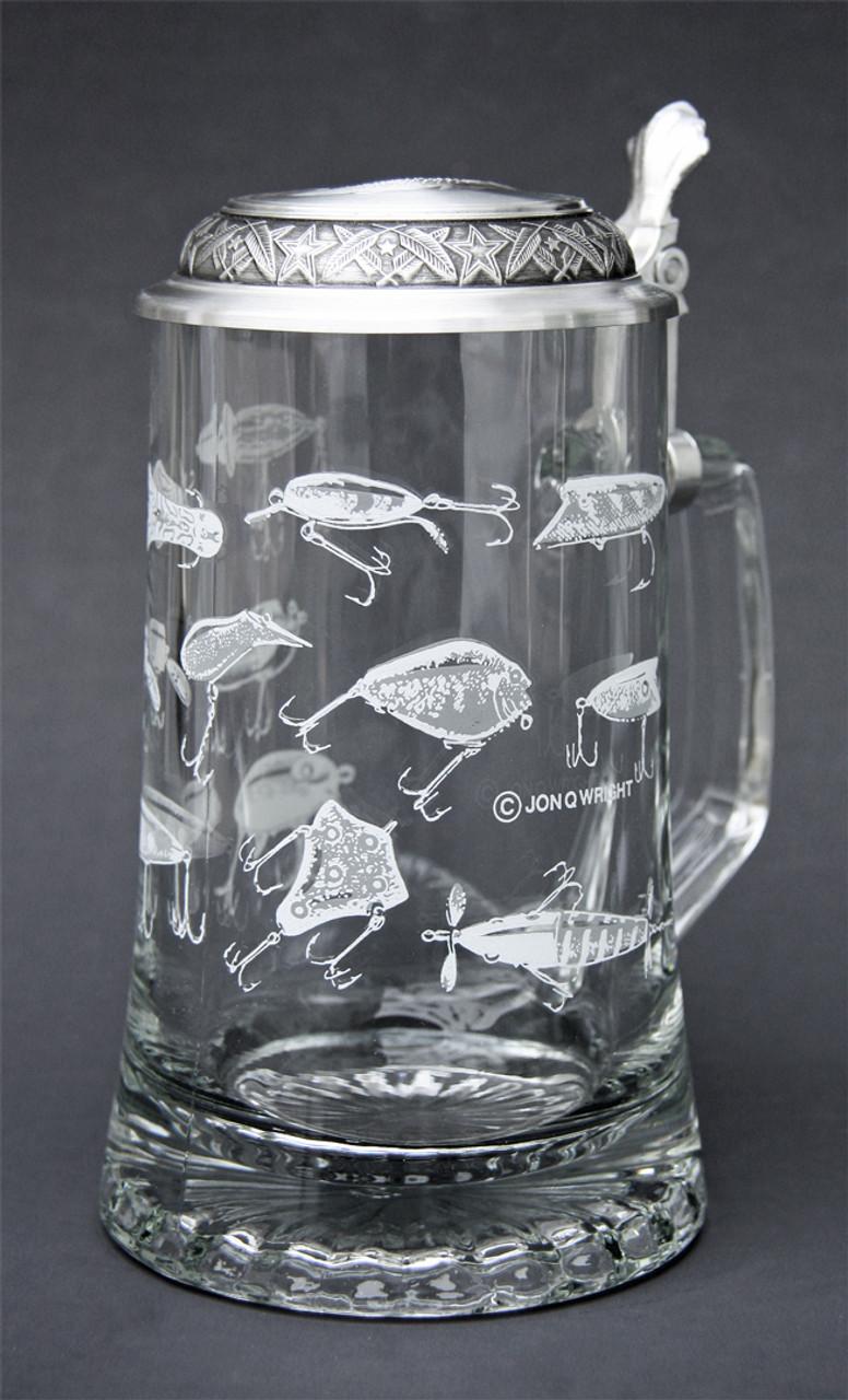 Engraved Fishing Lure Beer Stein