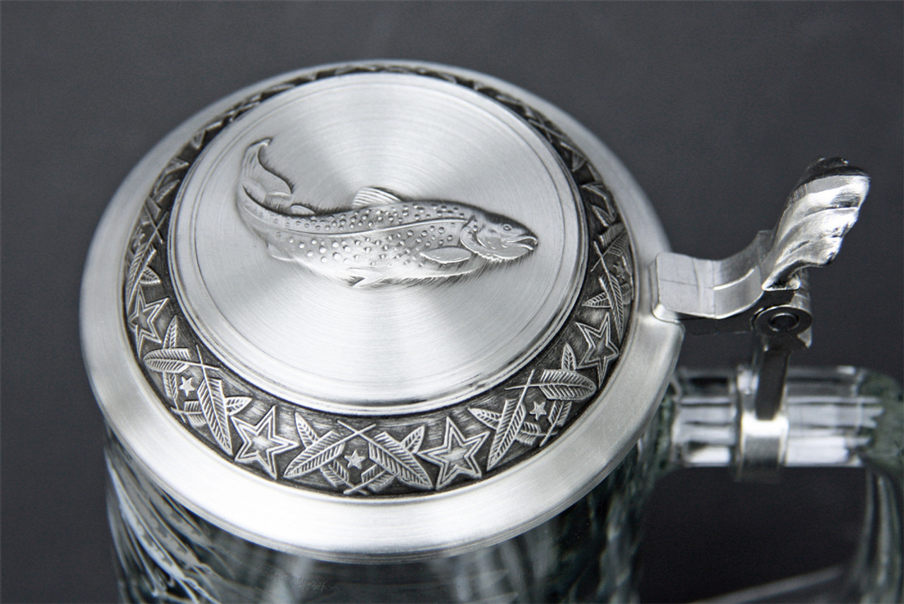 Pewter Lid of Authentic Glass Fishing Lure Beer Stein