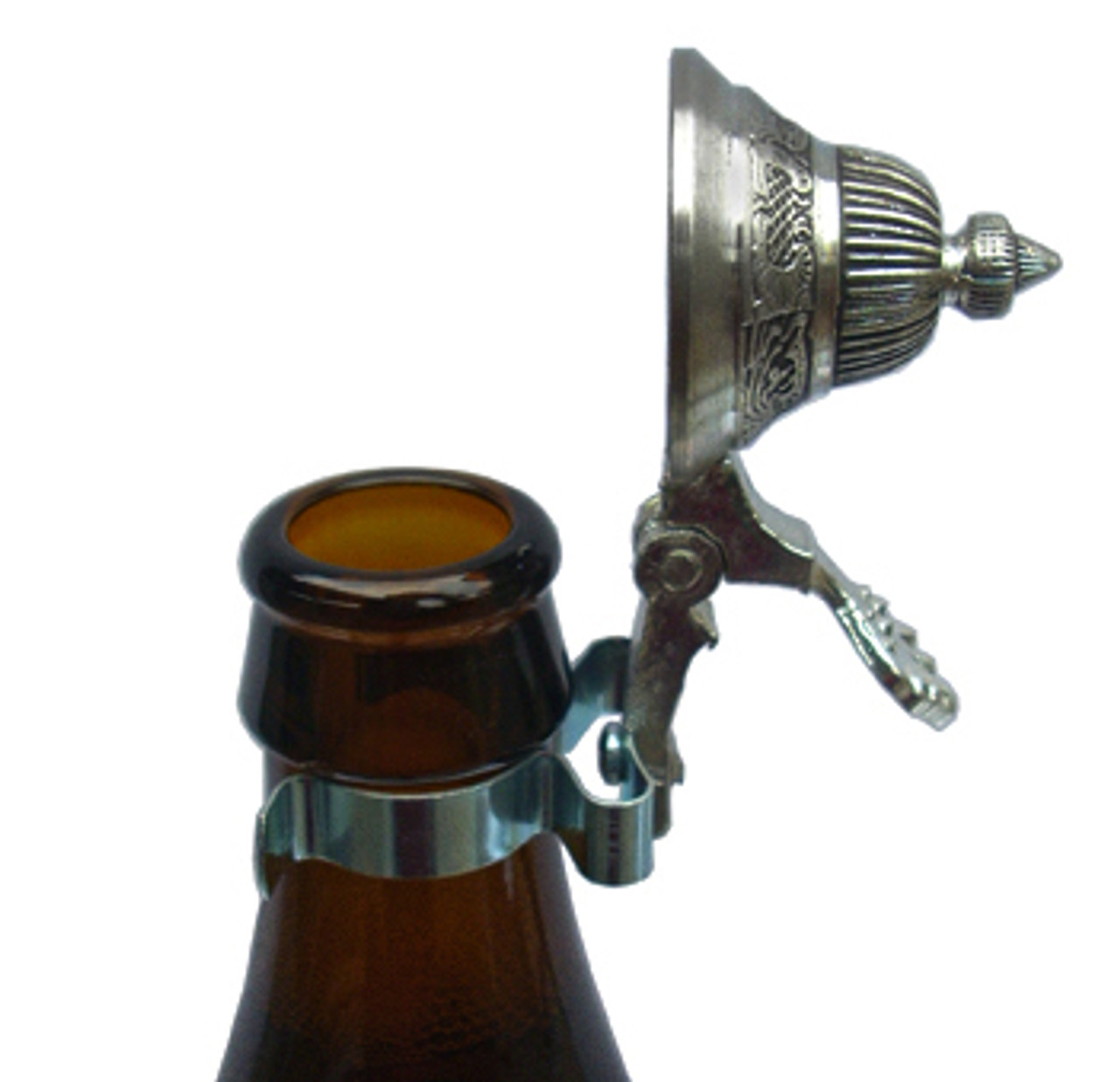 Pewter Dome Stein Lid for Beer Bottles in Open Position