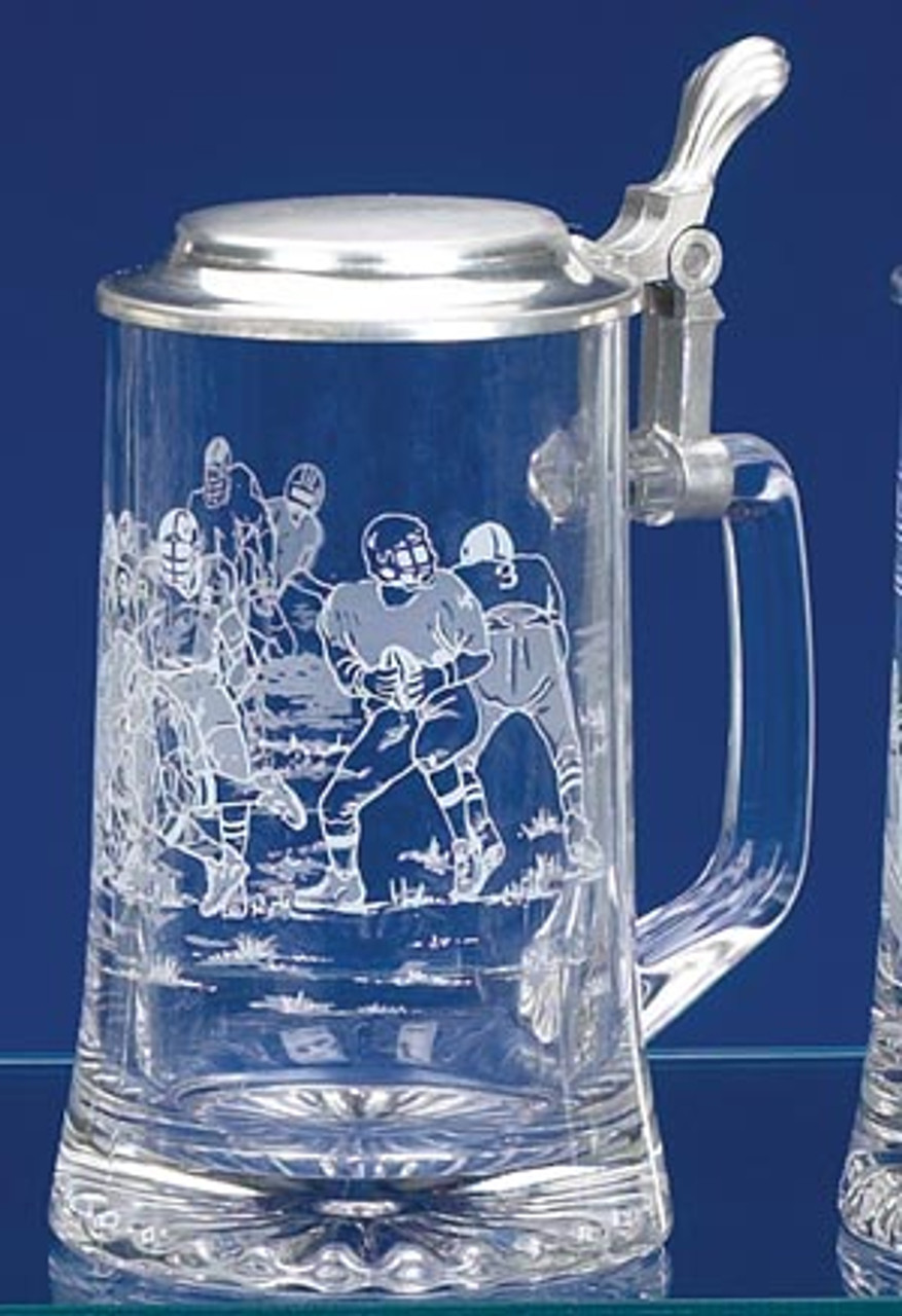 Engraved Football Glass Beer Stein