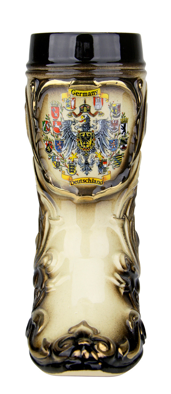 Ceramic German Beer Boot with Gilded Accents