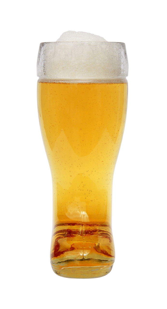 Half Liter Glass Beer Boot, Front View