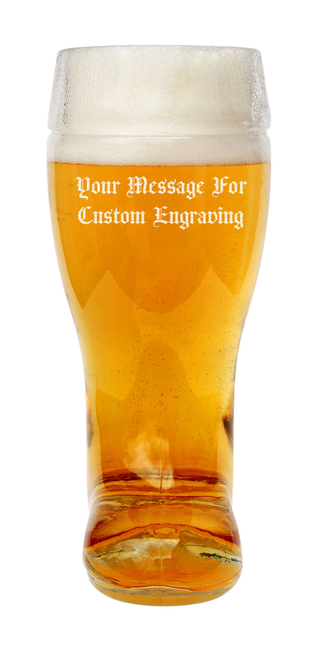 Custom Engraving Placement on One Liter Glass Beer Boot (personalized engraving adds $8.95 per item)