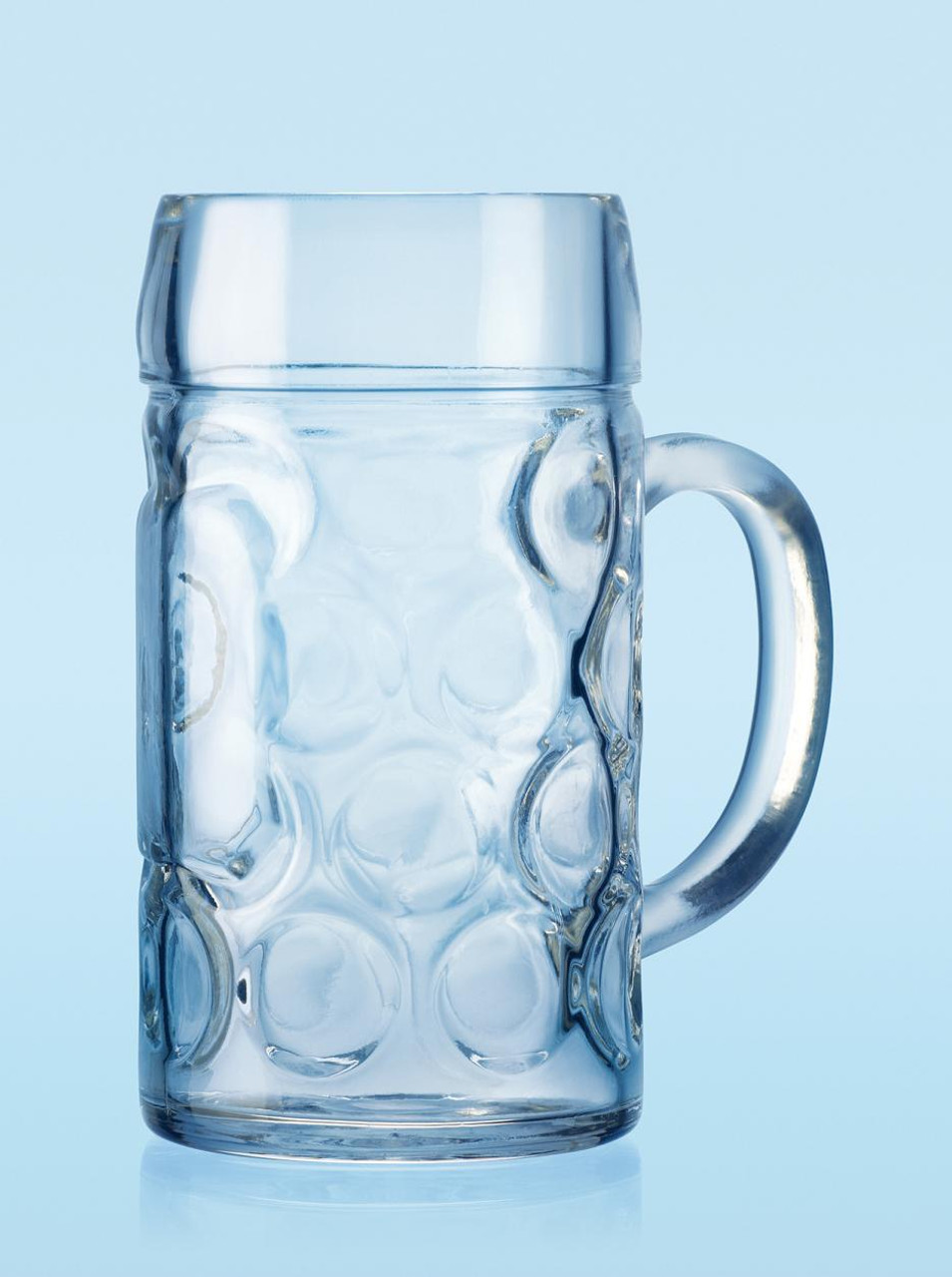 View of Empty German Dimpled Glass Oktoberfest Beer Mug, 1L