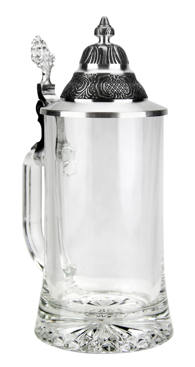 View of German Glass Beer Stein with Pointed Lid
