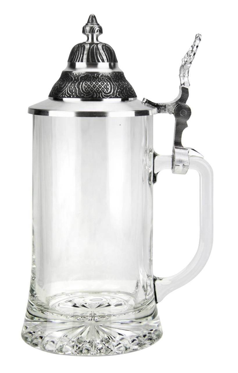 Right Side View of Empty 0.4 Liter Glass Beer Stein with Pewter Lid