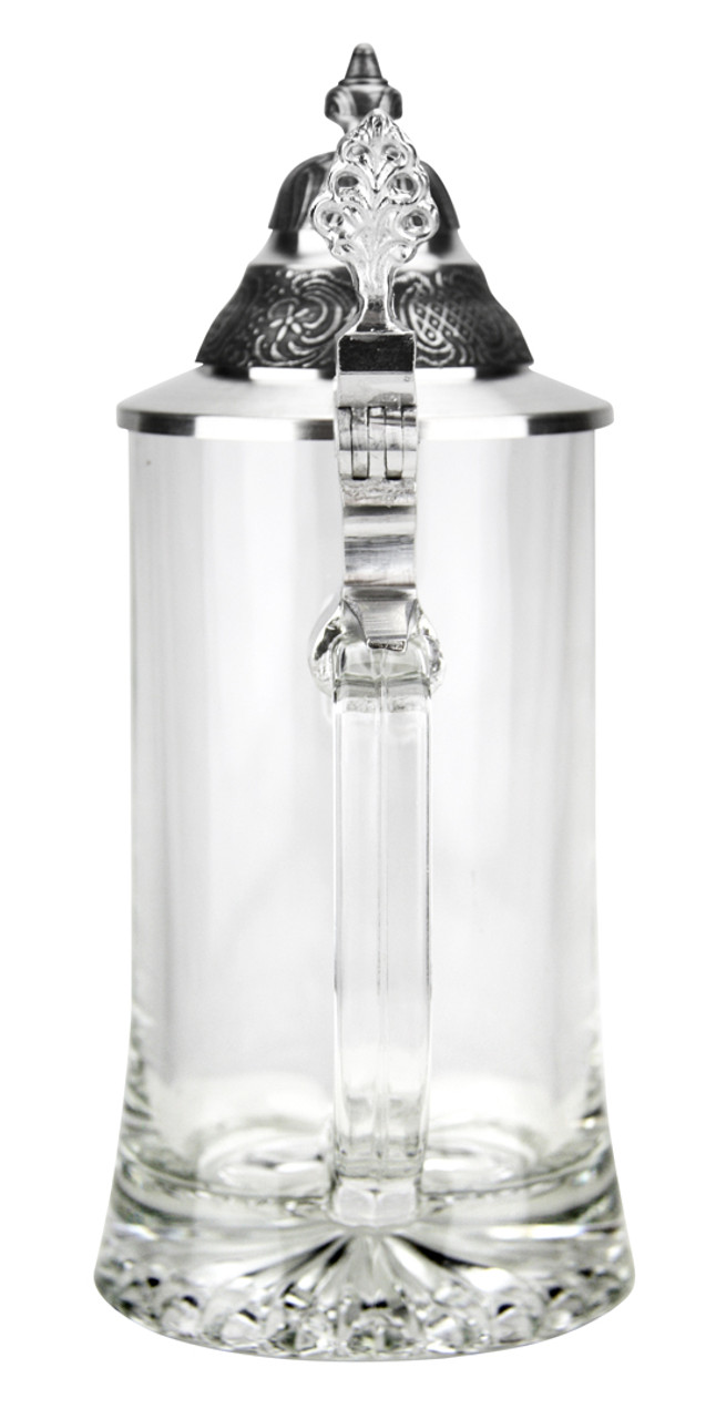 Rear View of 0.4L Glass Beer Stein Showing Lid Thumb Lift and Handle