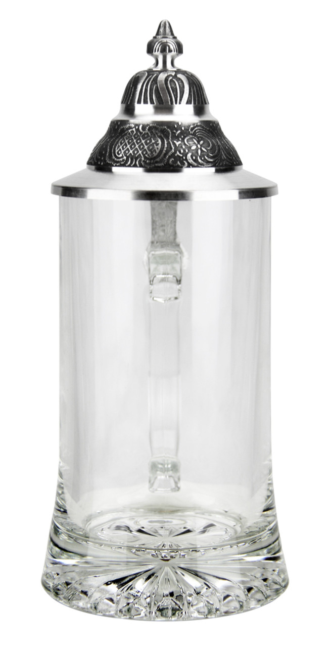 Front View of German Glass Beer Stein with Pointed Lid