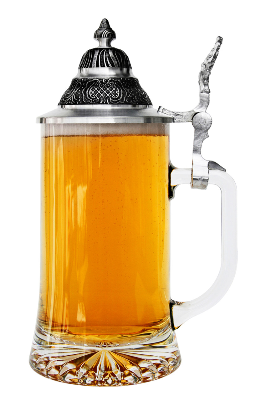 Glass Beer Stein with Pointed Pewter Lid, 0.4 Liter, Full of Beer