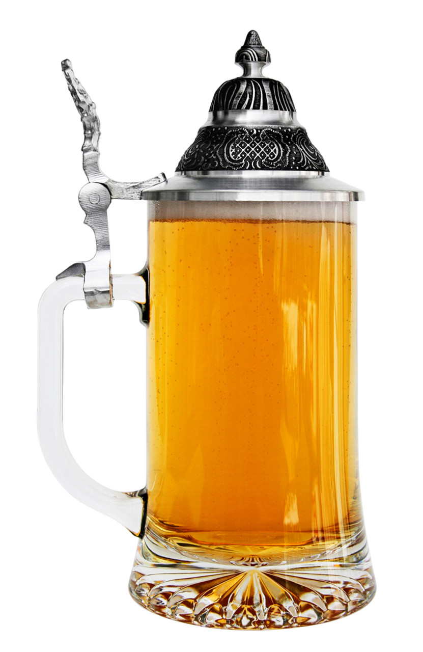 Left Side View of Glass German Stein with Tiered Pewter Lid, Full of Beer