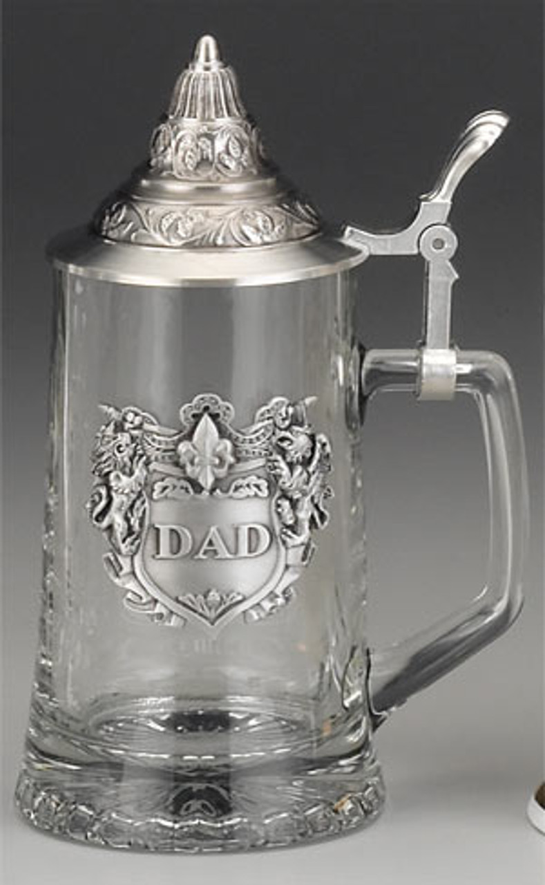 Glass Beer Stein with Pewter Lid for Dad