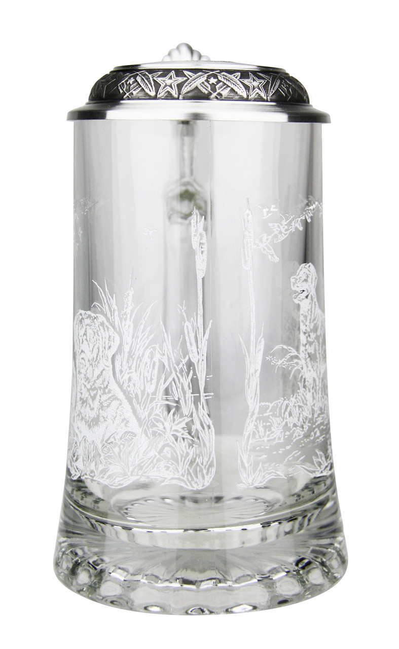 Etched Print Wraps Around Glass Beer Stein