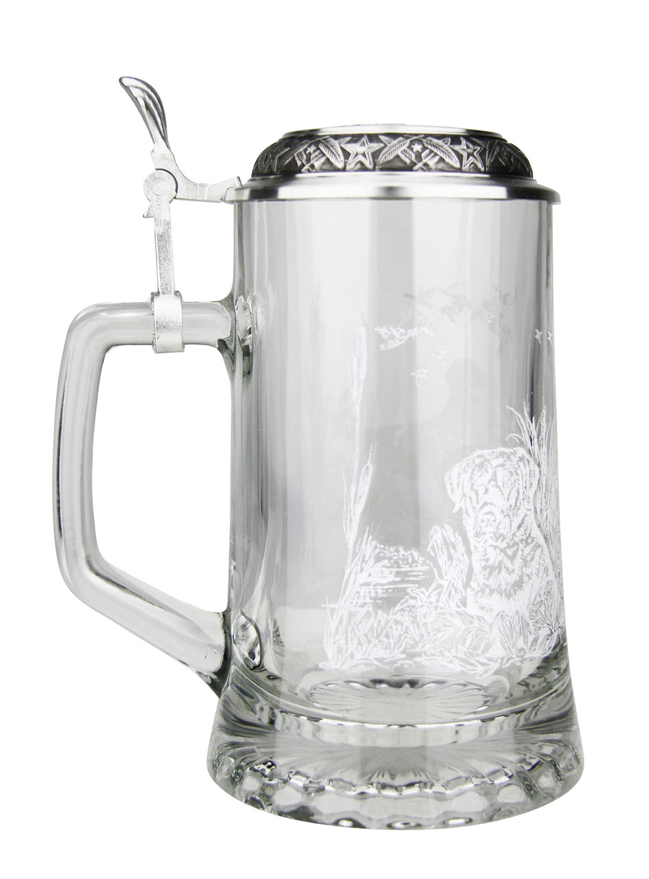 Pewter Lid with Shell Thumblift for Labrador Glass Beer Stein