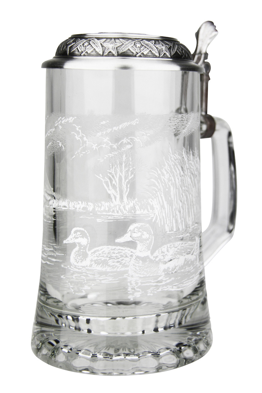 Authentic German Beer Glass with Mallard Etched Style Print