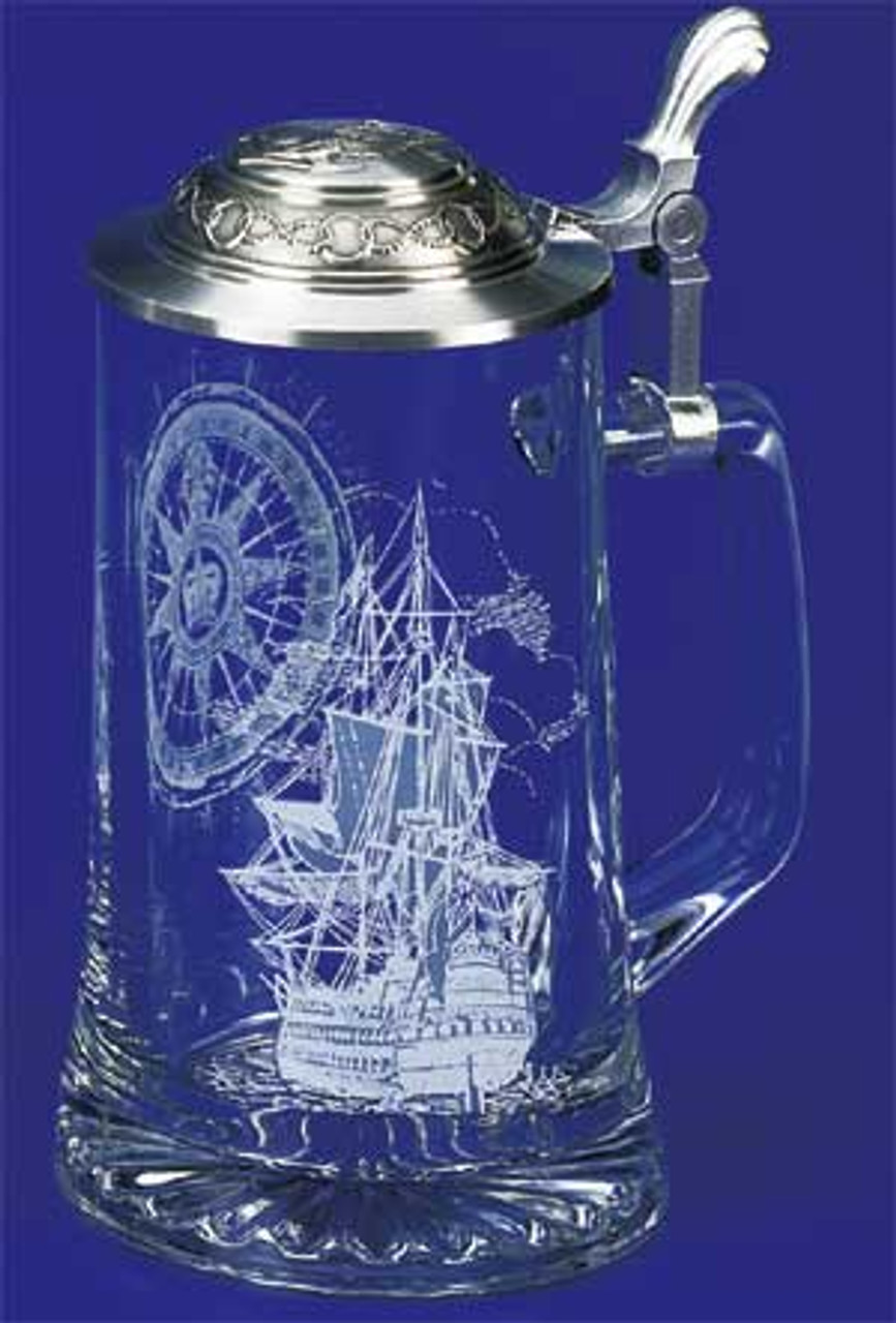 Authentic German Beer Stein with Nautical Engraving