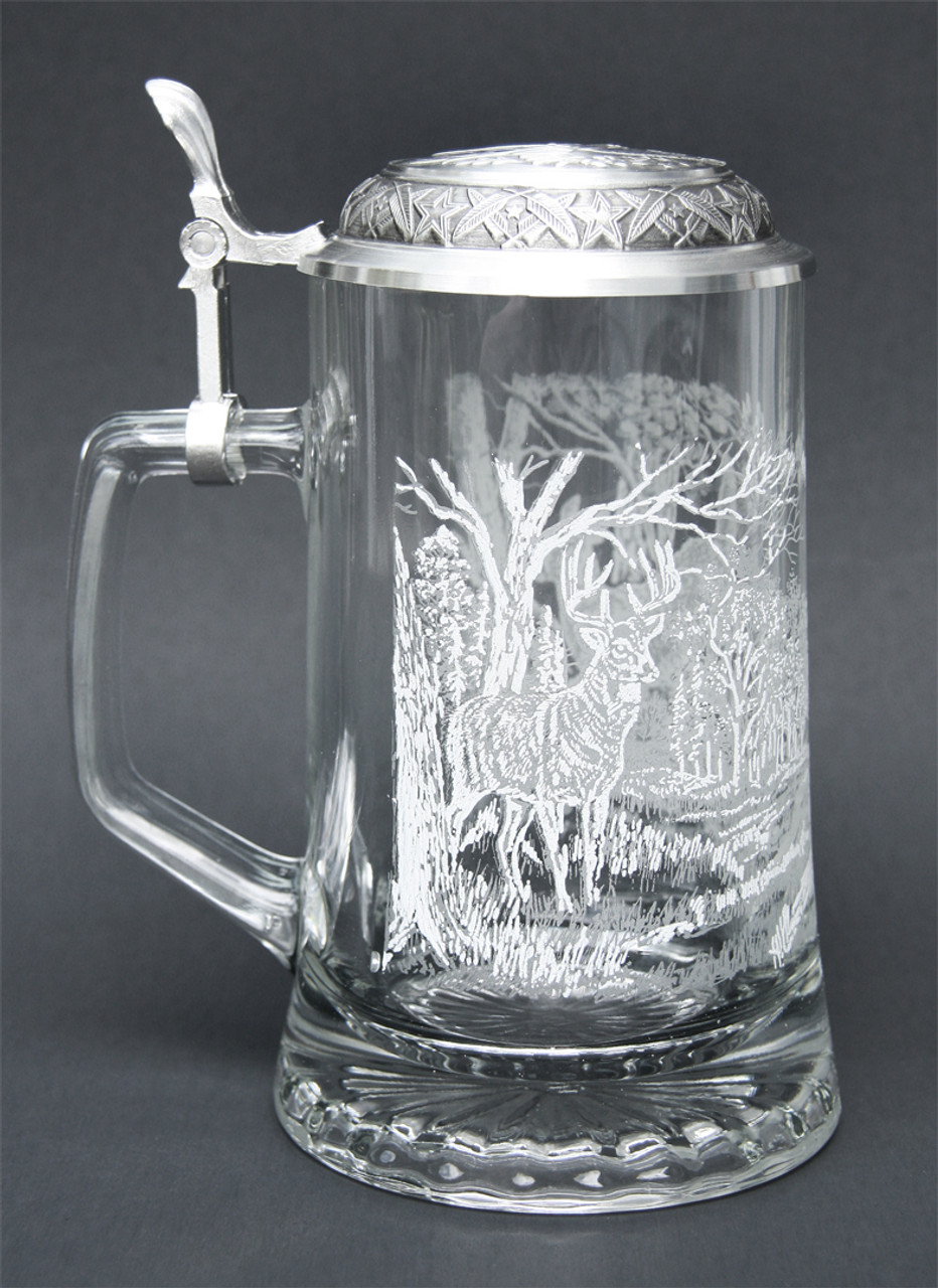 Right Side of Traditional German Beer Glass with White Tail Deer Relief