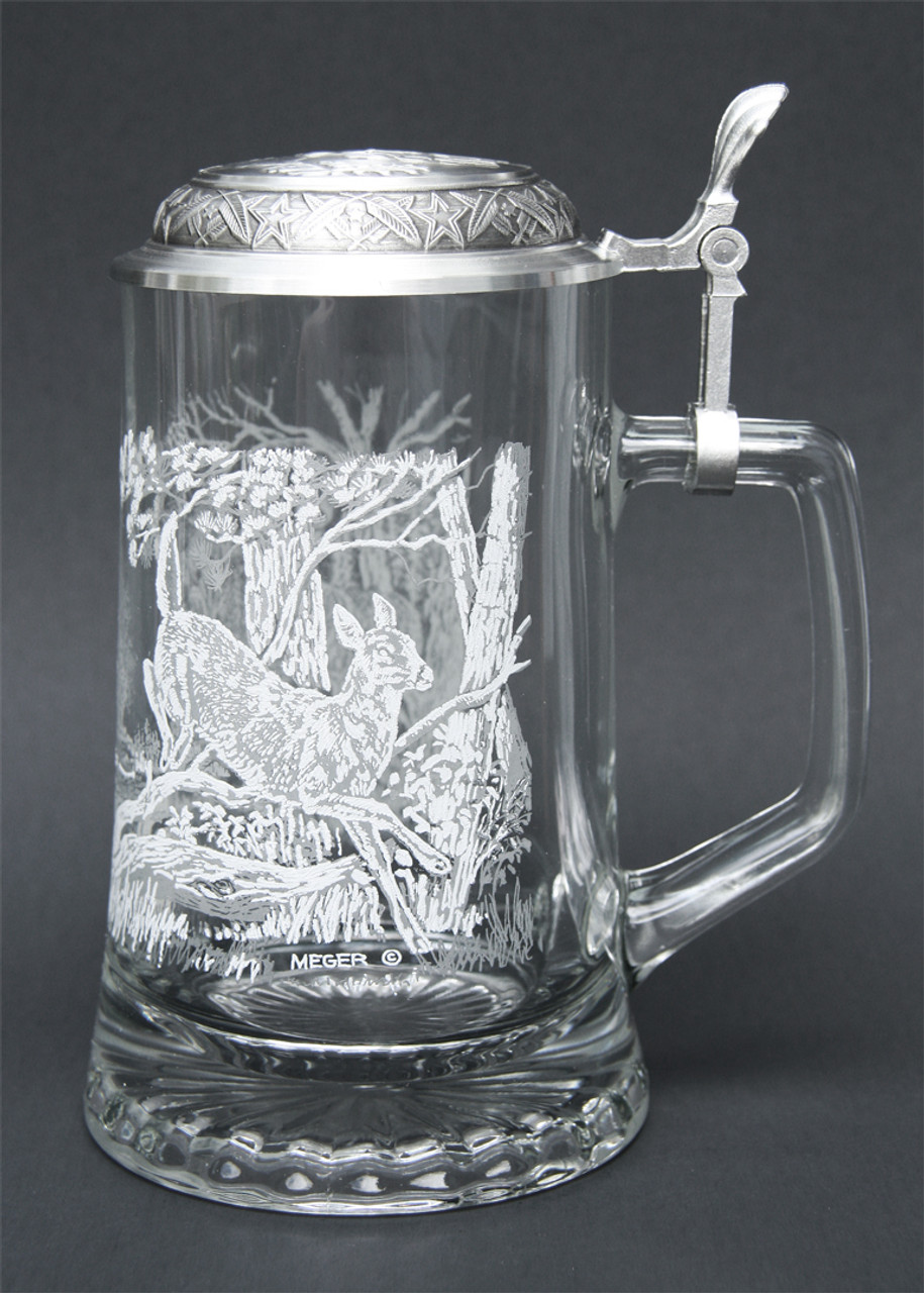 Left Side of Traditional German Beer Glass with White Tail Deer Relief