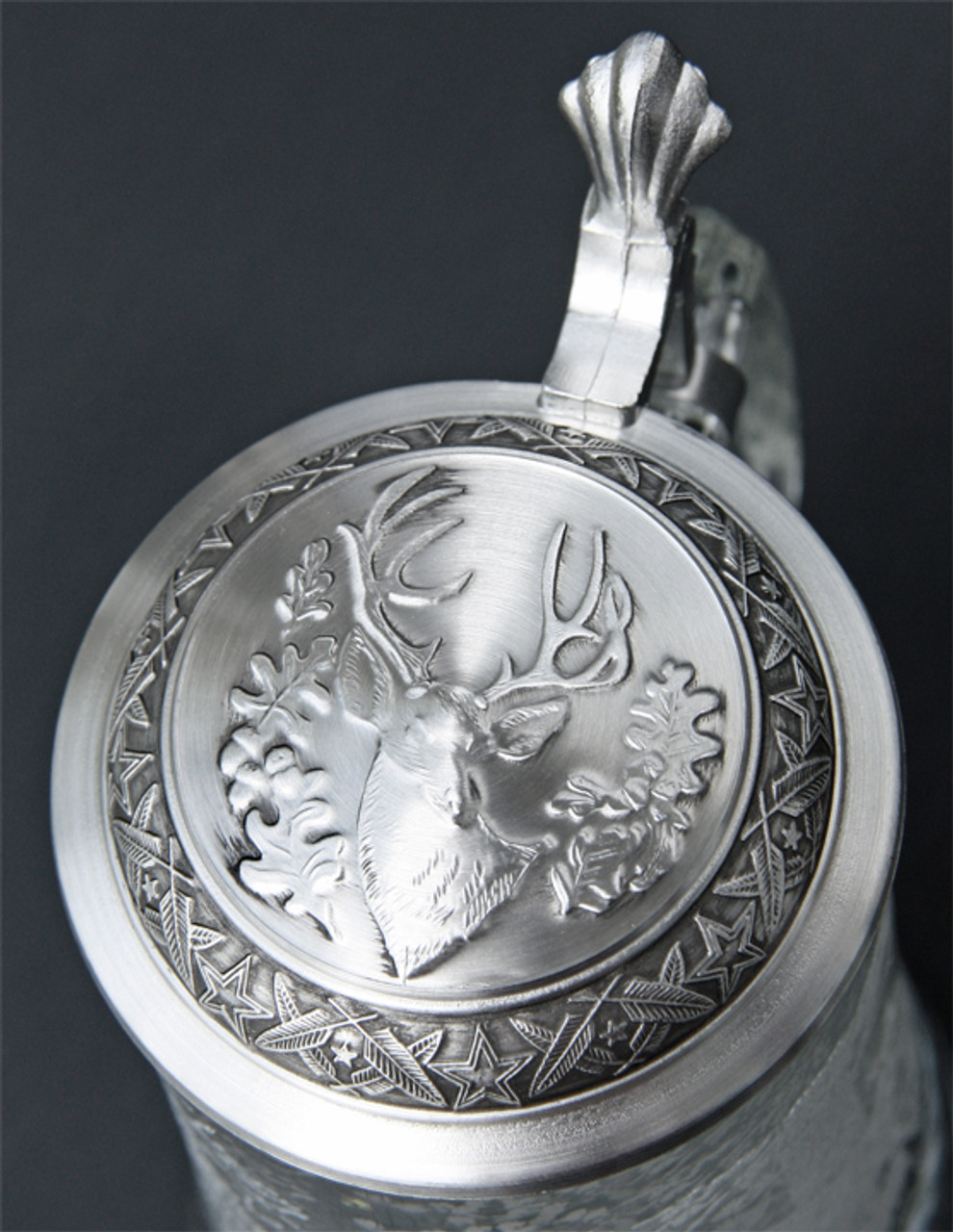 Pewter Lid of Traditional German Beer Glass with White Tail Deer Relief
