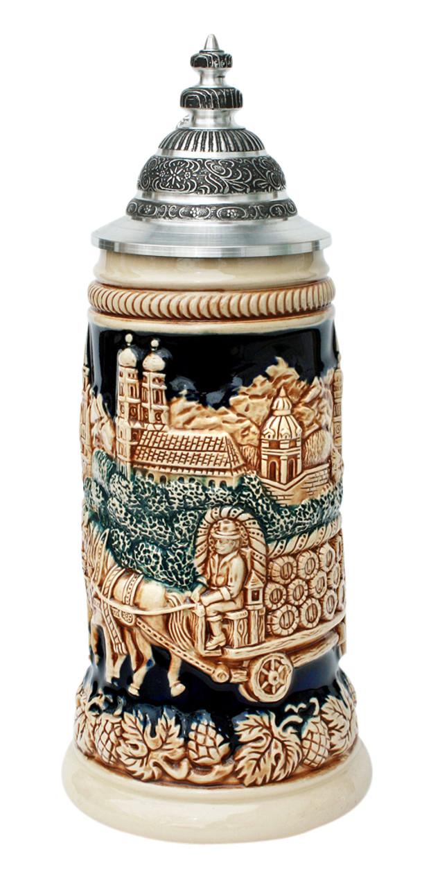 Antique Style Munich Oktoberfest Beer Stein with Lid
