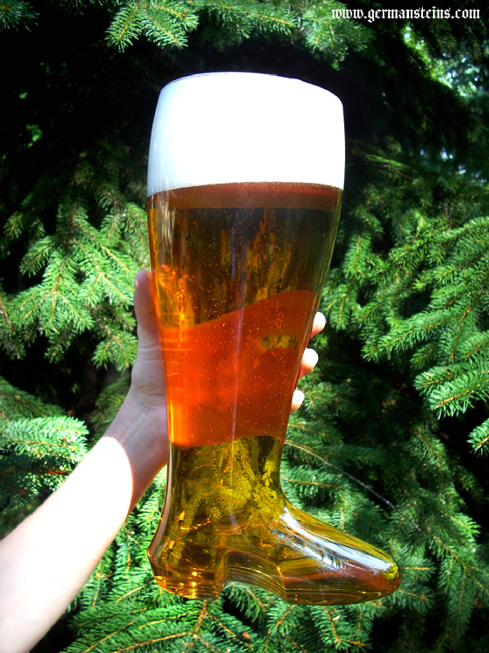 2L Plastic Beer Boot Being Held Aloft Outside