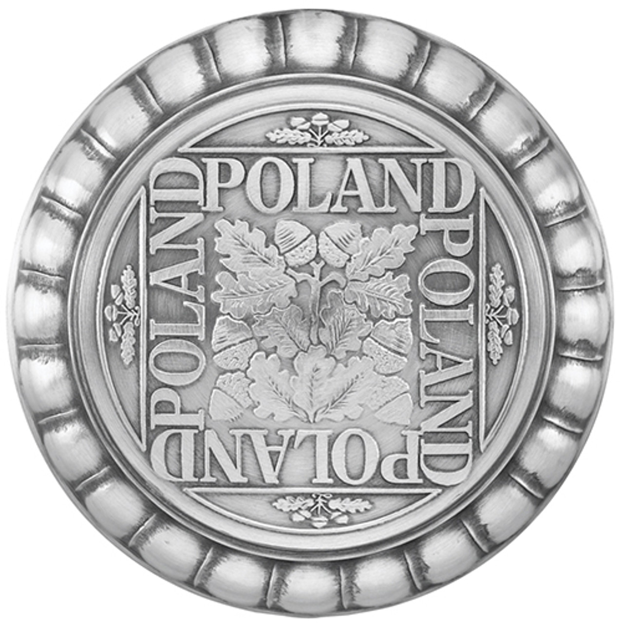 Pewter Lid of Polish Themed Authentic German Beer Mug