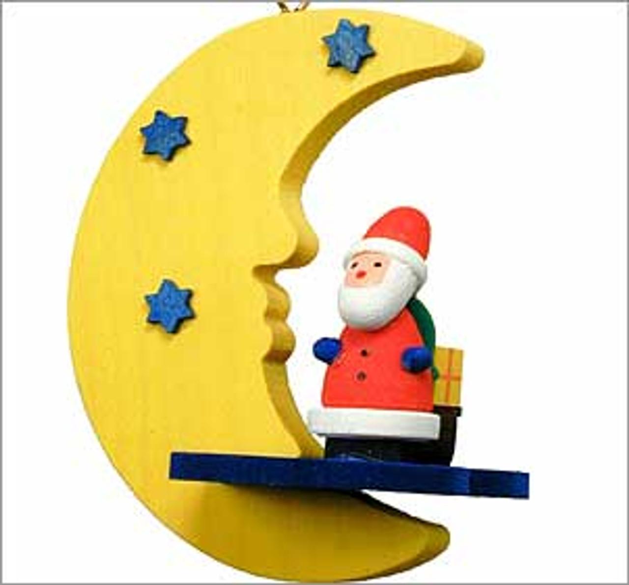 Santa on the Moon Wooden German Ornament