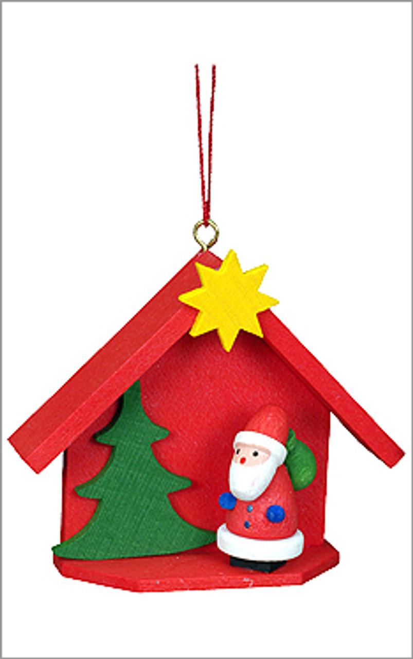 Santas House Wooden German Ornament