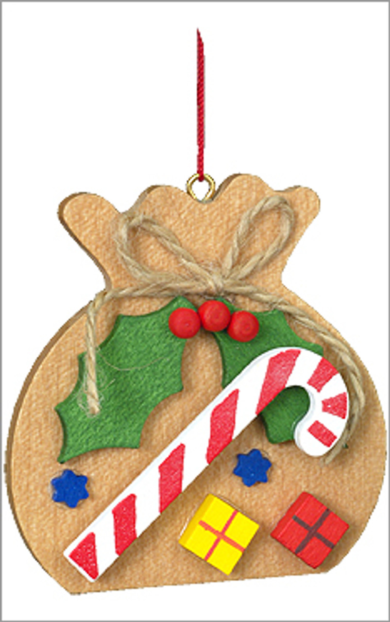 Santa's Toy Sack Wooden German Ornament with Candy Cane & Holly