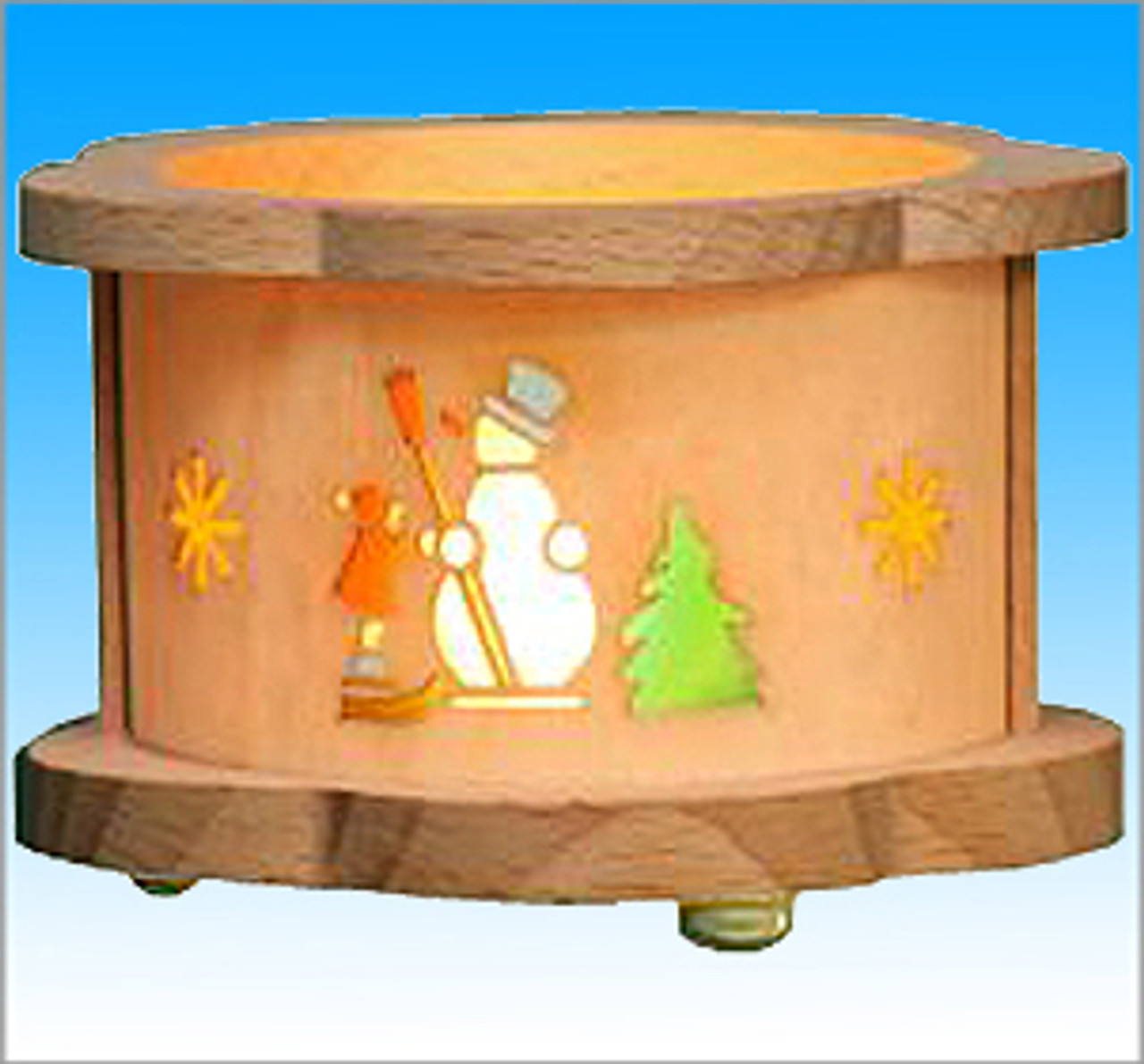 Snowman Wooden Tea Light German Luminary