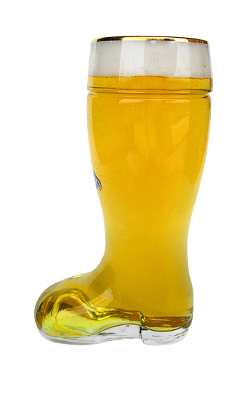 Side View Collectible Half Liter German Beer Boot Glass