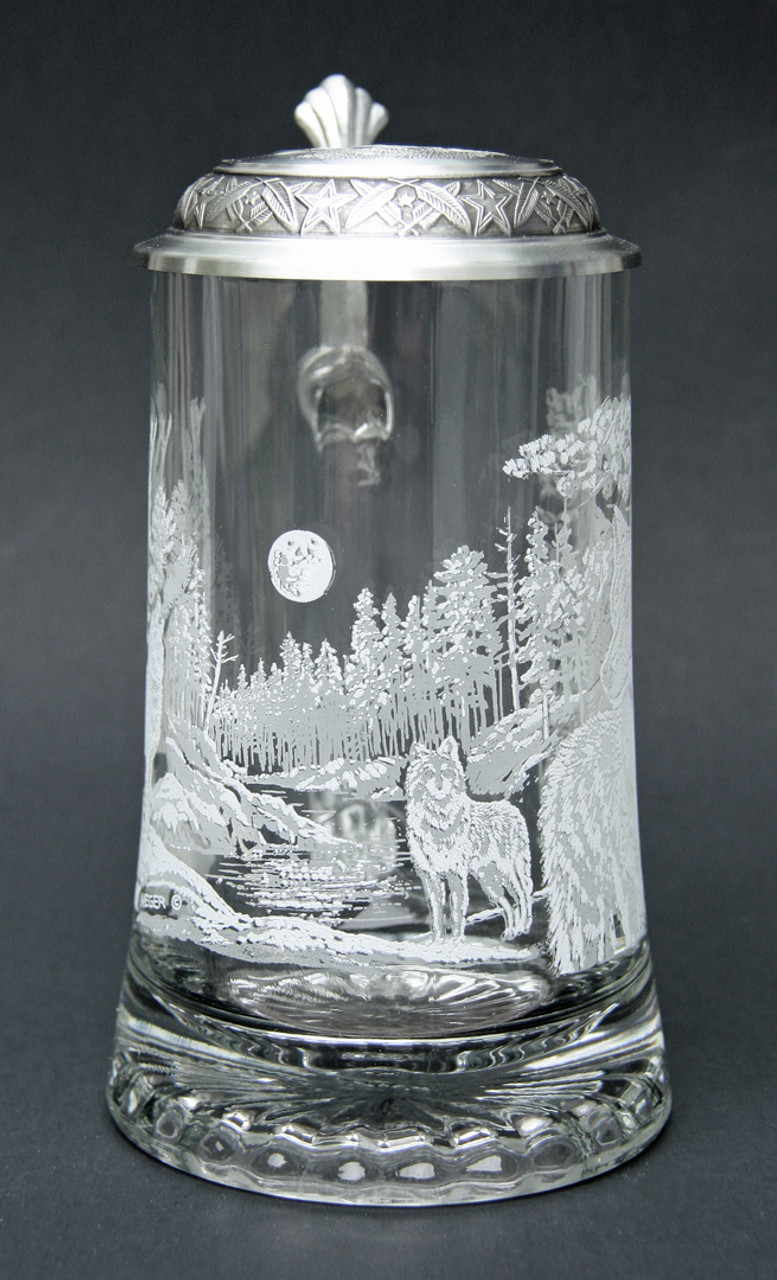 Timber Wolf Motif Glass Beer Stein for Sale