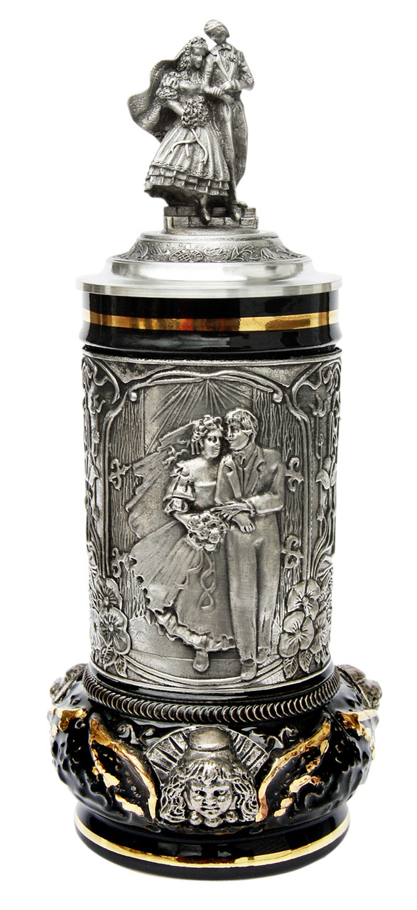 Wedding Beer Stein with Pewter Wrap