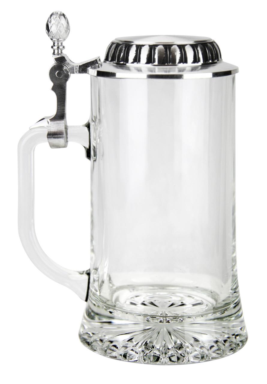 Empty 0.4 Liter Glass Beer Stein Side View