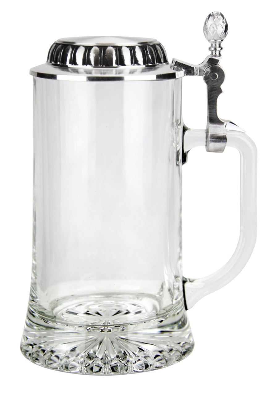 0.4L Glass Beer Stein with Flat Pewter Lid, Empty