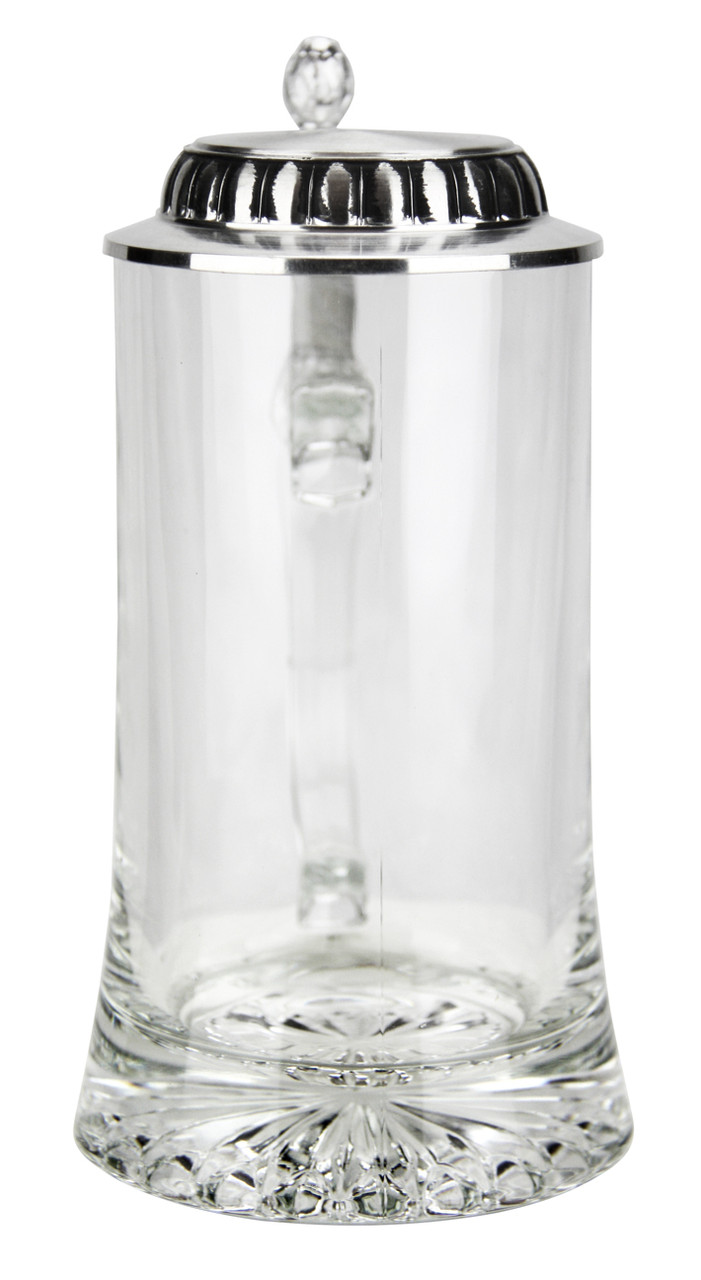 Empty View of Front of Glass German Beer Stein with Hop Cone Lid LiftSide of Glass German Beer Stein Showing Handle and Sculpted Hop Cone Lid Thumblift