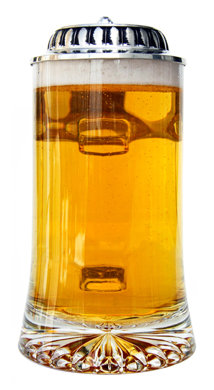 Glass Beer Stein with Plateau Pewter Lid and Hop Cone Thumblift