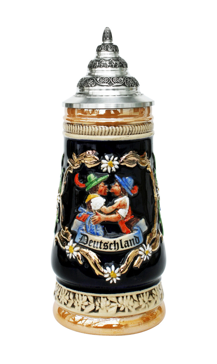German Stein with Couple in Traditional German Clothes Kissing
