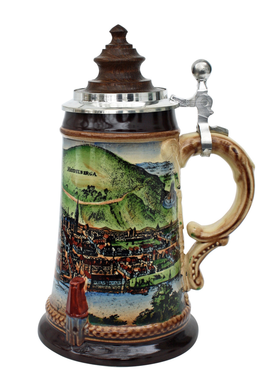 Old Heidelberg Beer Stein with Wood Lid