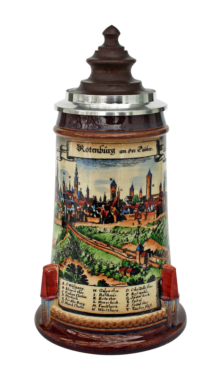 Old Rothenburg Beer Stein with Wood Lid