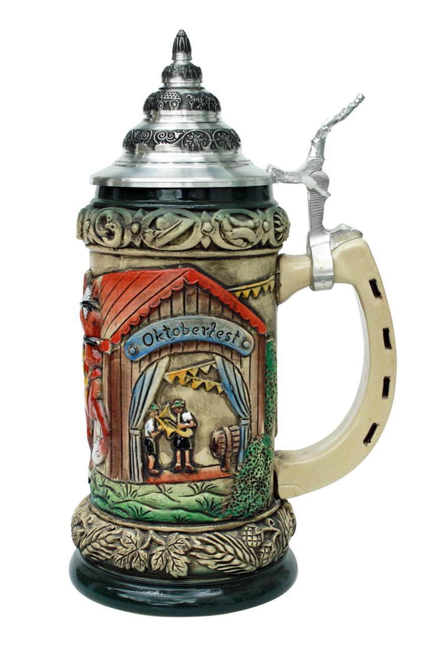 Oktoberfest Ceramic Beer Stein with Lid