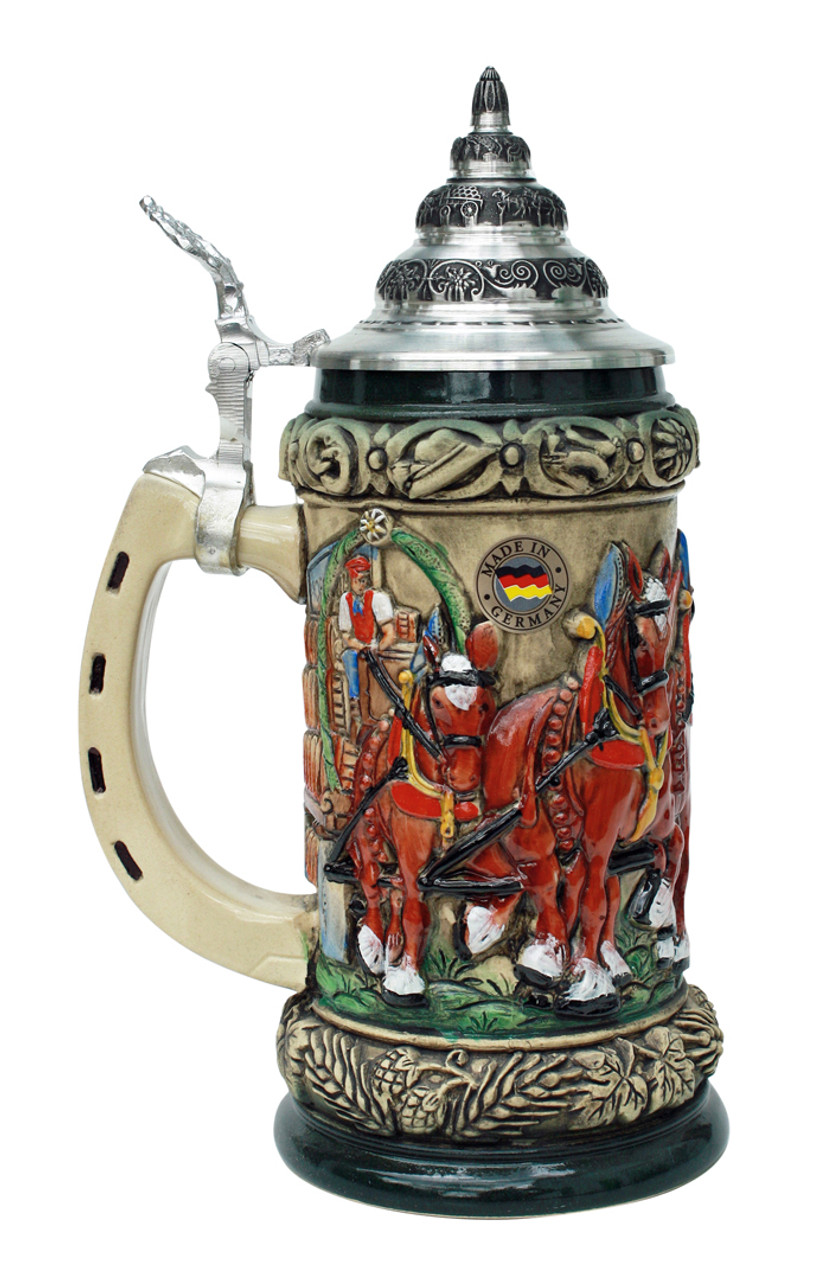Antique German Beer Stein with Pewter Lid