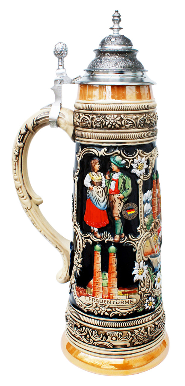 Munich Oktoberfest Ceramic Beer Stein with Pewter Lid