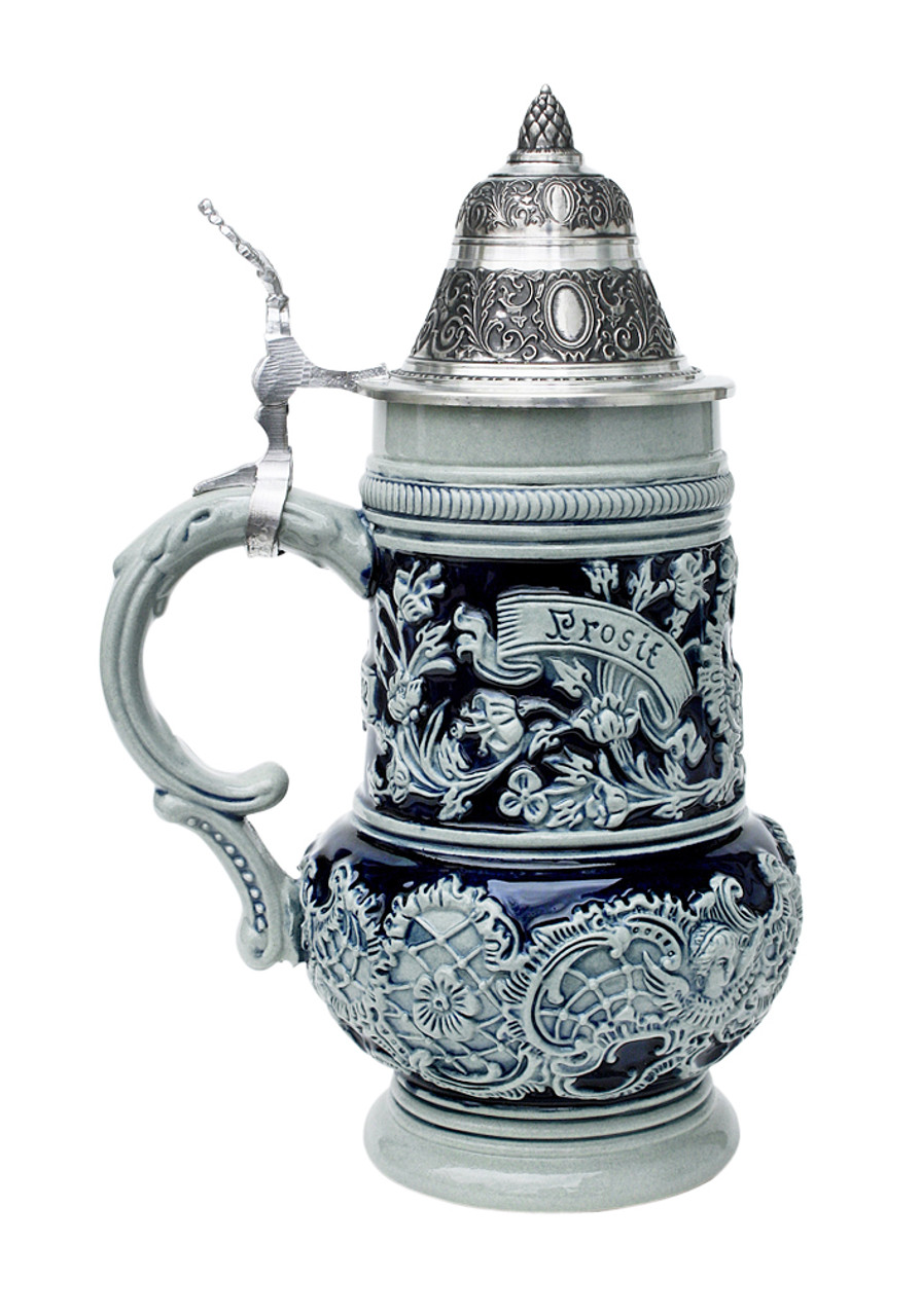 Right Side of 0.5L German Stoneware Beer Stein with Prosit Engraving